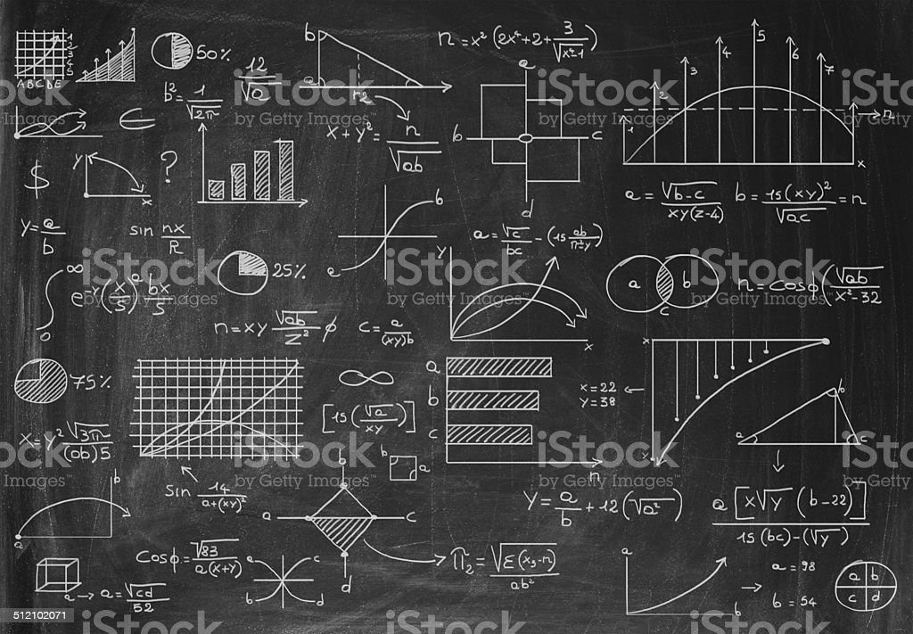 Ideas on a blackboard stock photo
