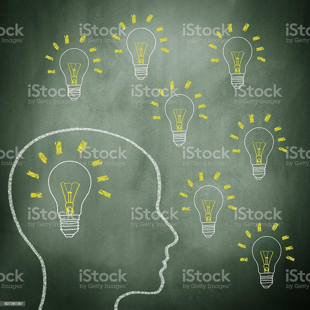Ideas on blackboard royalty-free stock photo