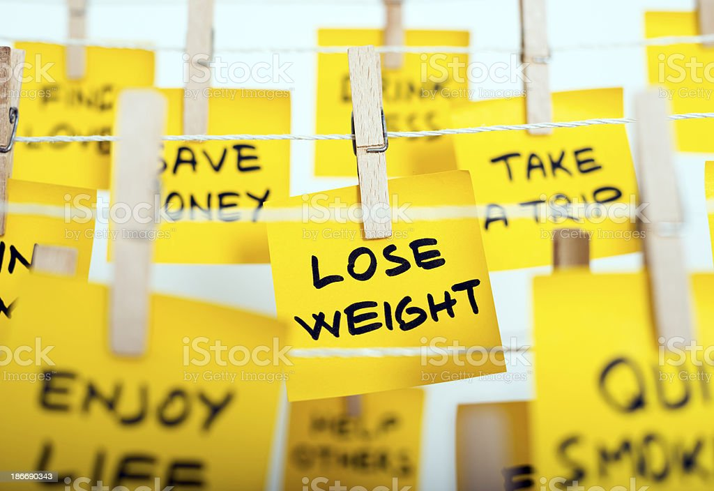 Ideas on sticky notes for New Years resolutions stock photo