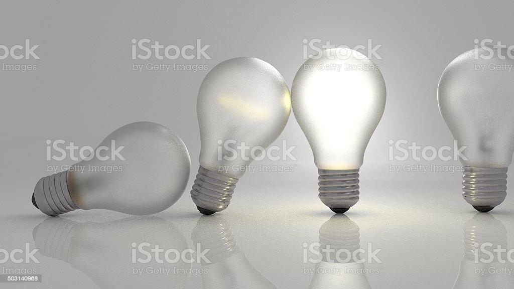 ideas passing through bulbs stock photo