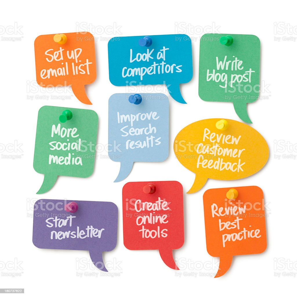 Ideas to improve your online business displayed on speech bubbles stock photo