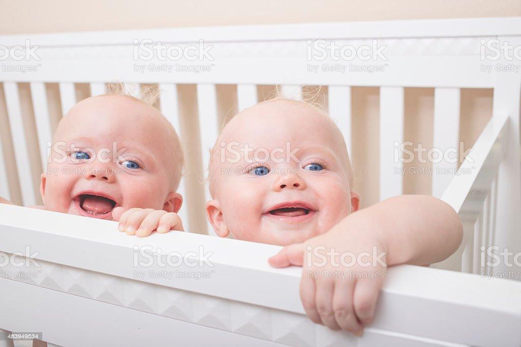 Identical Twin Baby Boys stock photo