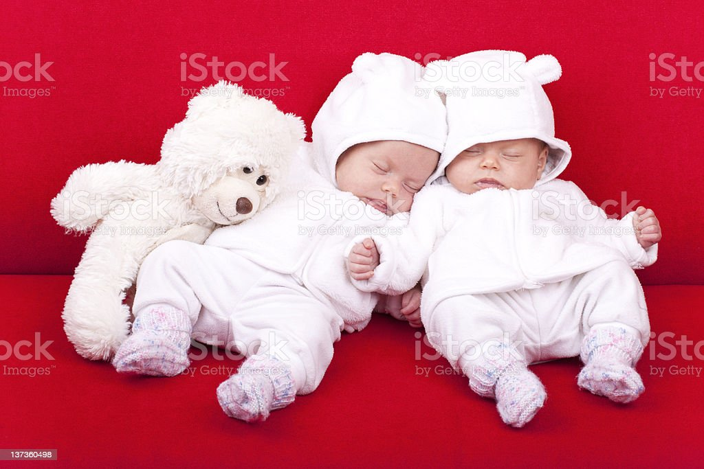 identical  twin baby sisters royalty-free stock photo