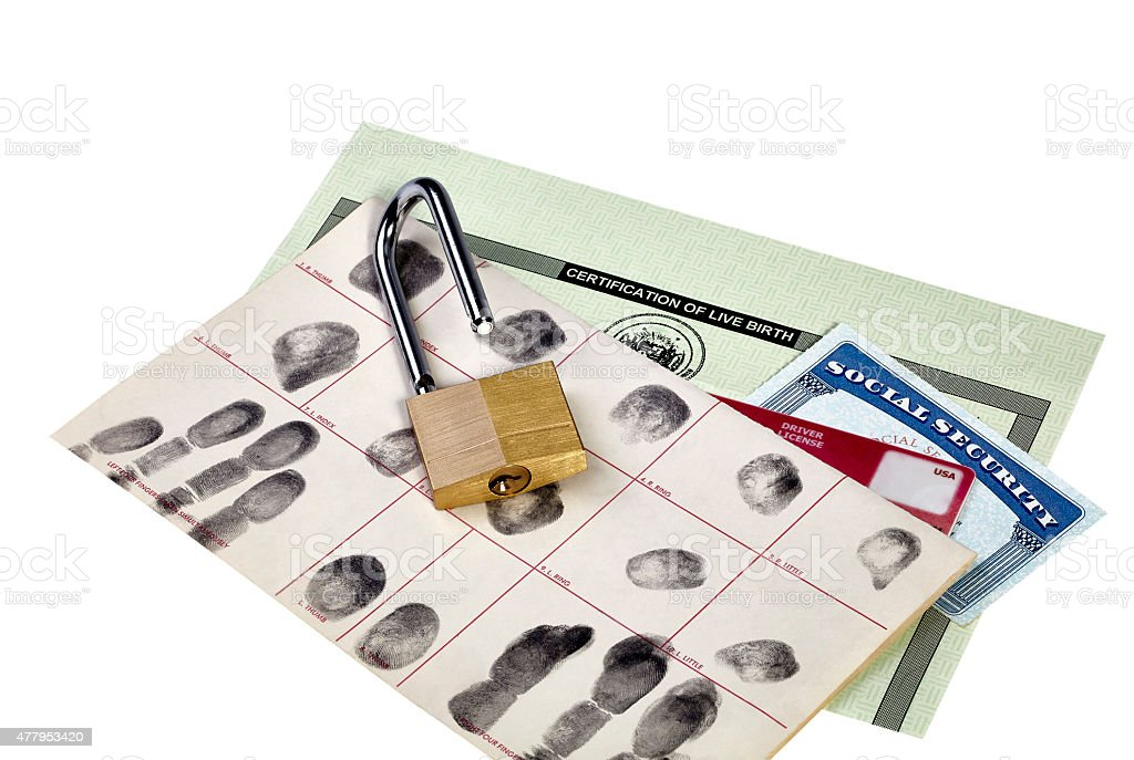 Identification Documents with Opened Padlock stock photo
