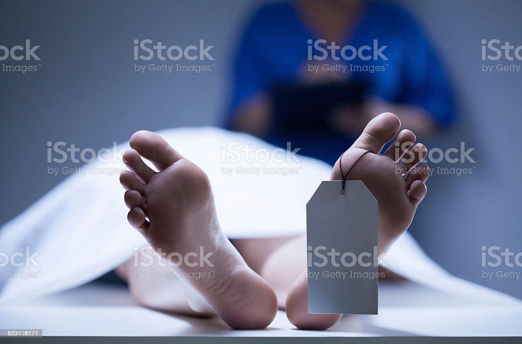 Identification of dead body stock photo