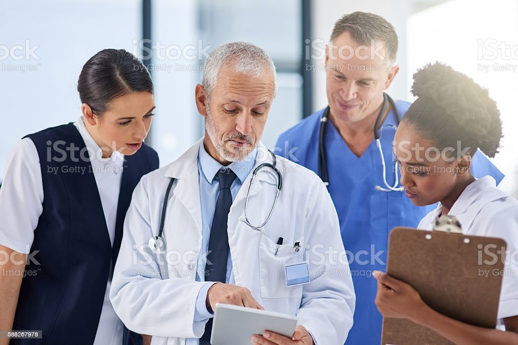 Identifying a diagnosis together stock photo