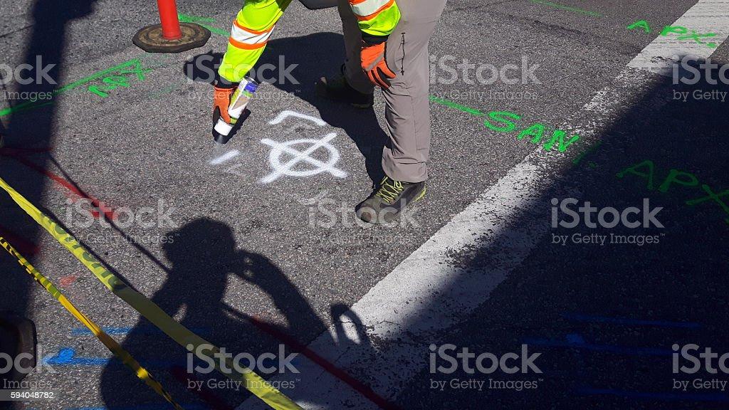 Identifying Underground utility lines stock photo