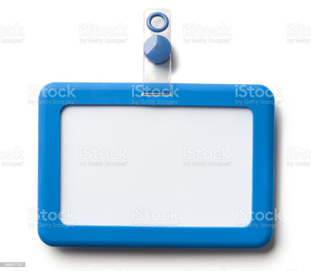 Identity Badge Name Tag Holder Isolated on White Background stock photo