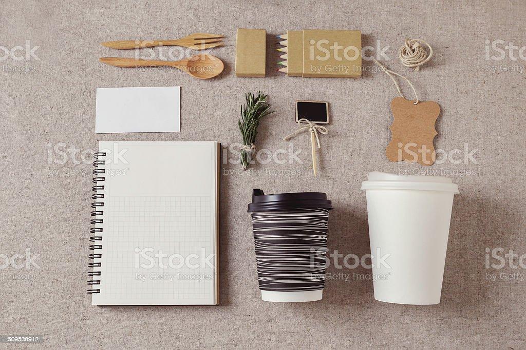 Identity branding mockup set, selective focus, toning stock photo