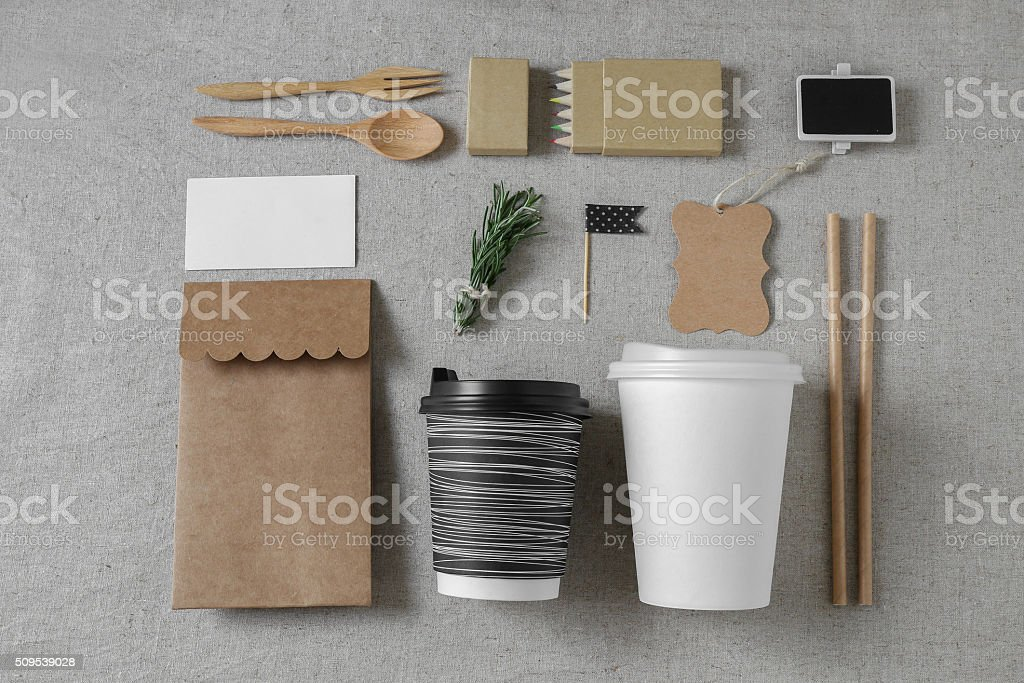 Identity branding mockup set, selective focus, toning stock photo