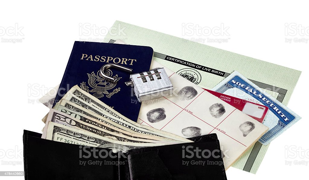 Identity Documents with Broken Lock stock photo