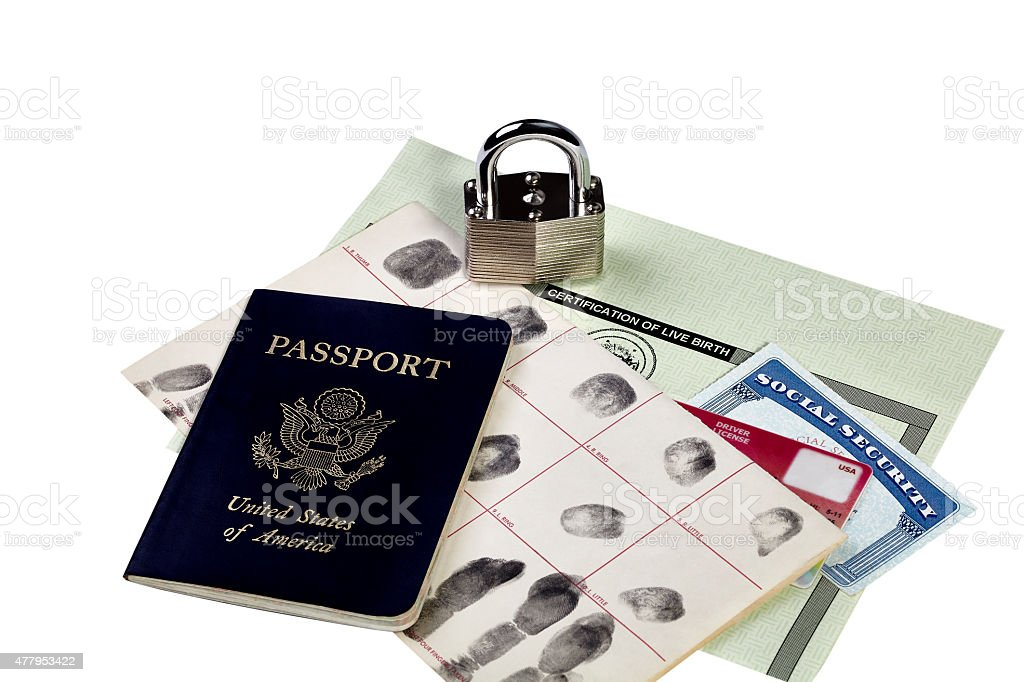 Identity Documents with Locked Padlock stock photo