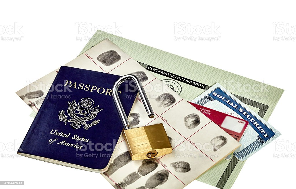 Identity Documents with Unlocked Padlock stock photo