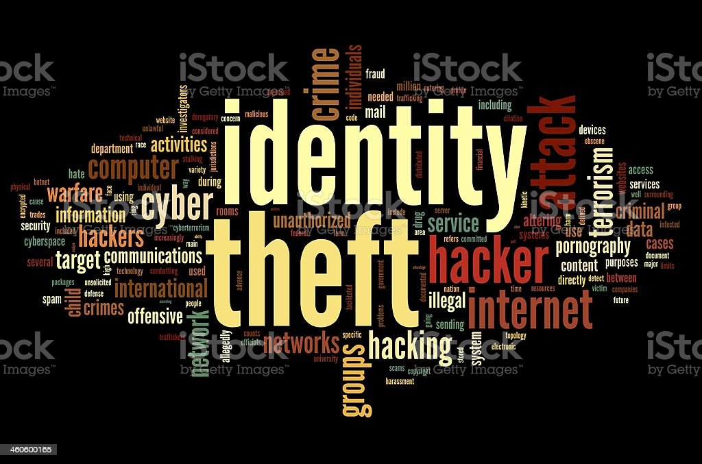 Identity theft in word tag cloud vector art illustration