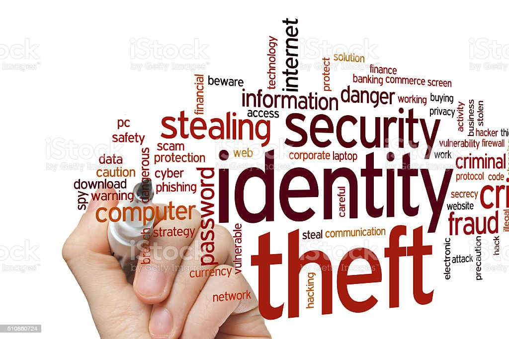 Identity theft word cloud stock photo