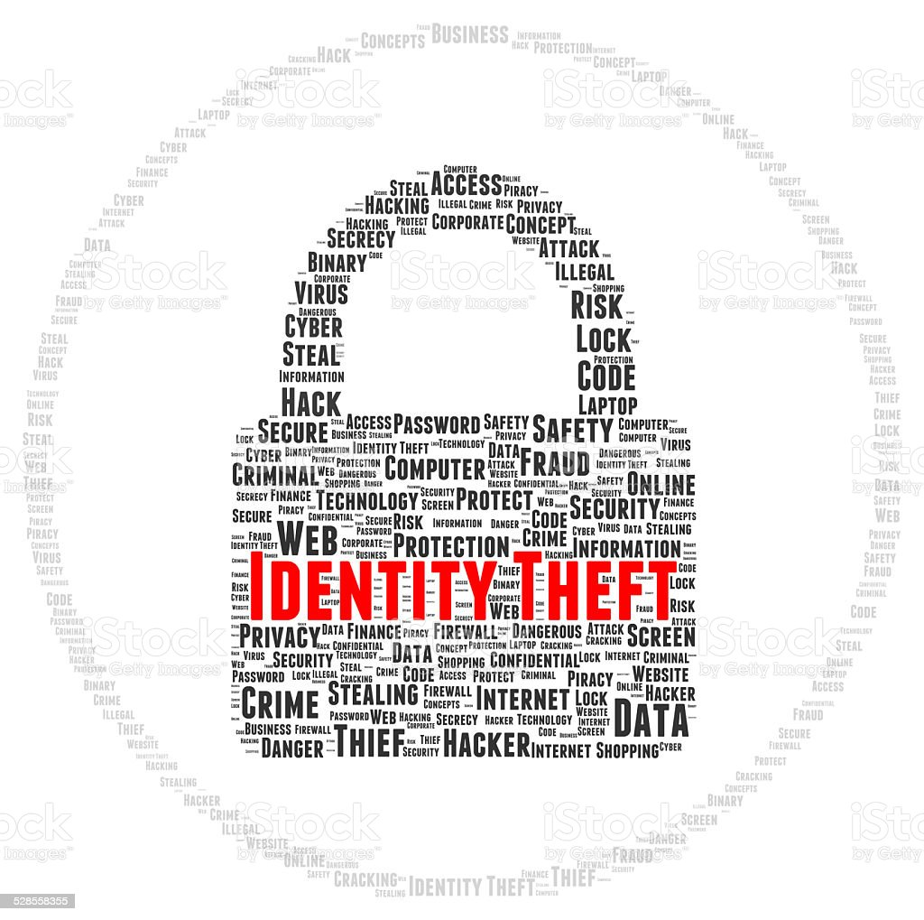 Identity theft word cloud shape stock photo