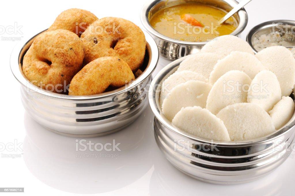 Idli ,Medu vada, vadai, south Indian breakfast stock photo