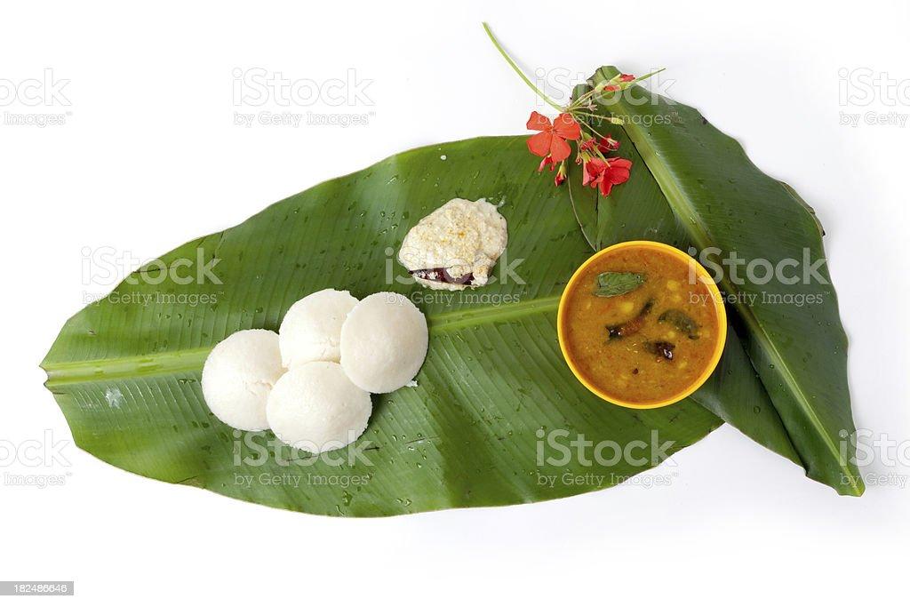 Idli Sambhar and Chutney, South Indian Dish on Banana Leaf royalty-free stock photo