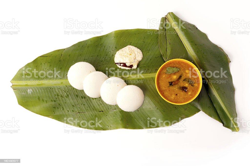 Idli Sambhar and Chutney, South Indian Dish on banana leaf stock photo