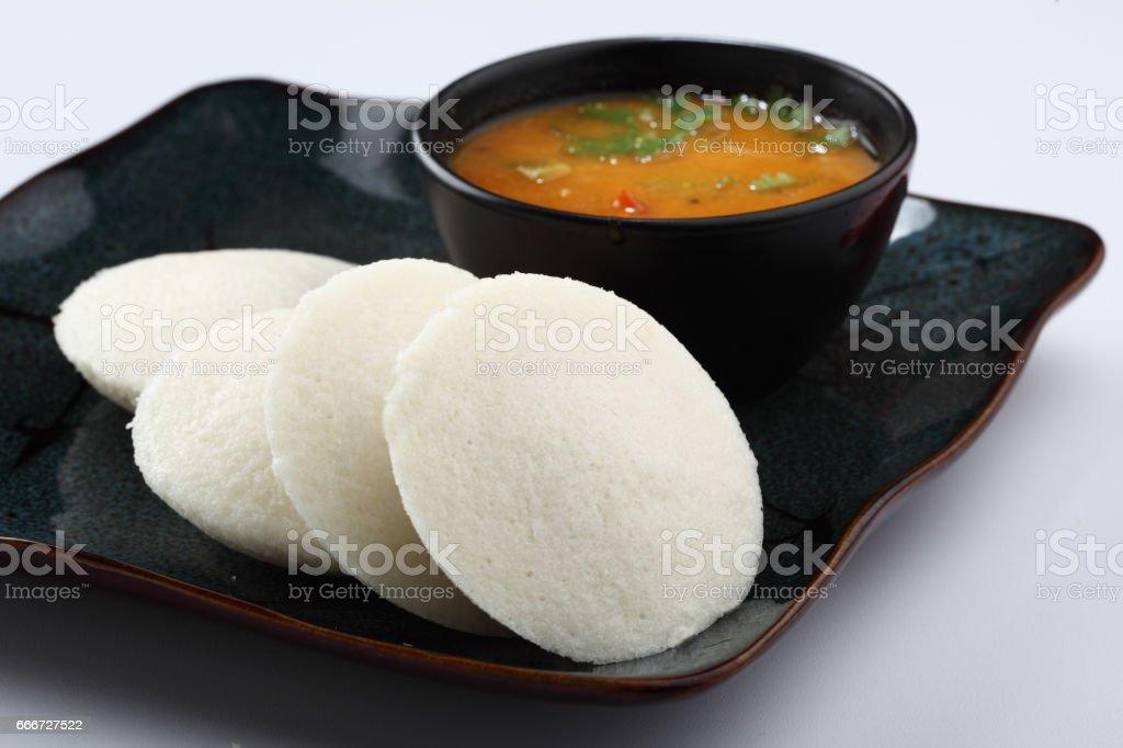 Idli Sambhar , South Indian Dish stock photo