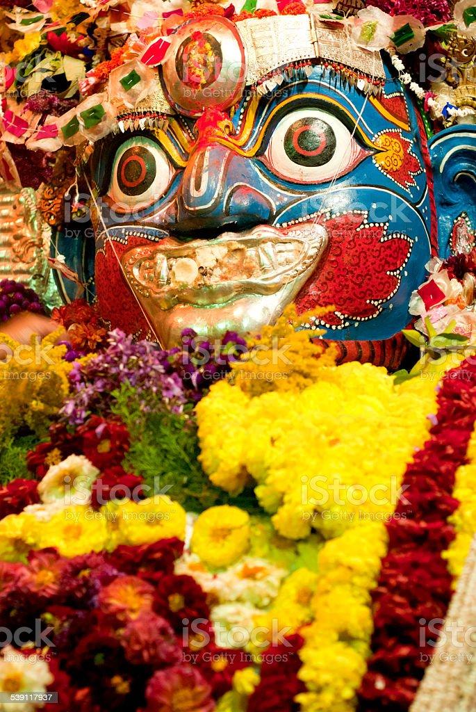 Idol of Bhairava in Kathmandu. stock photo