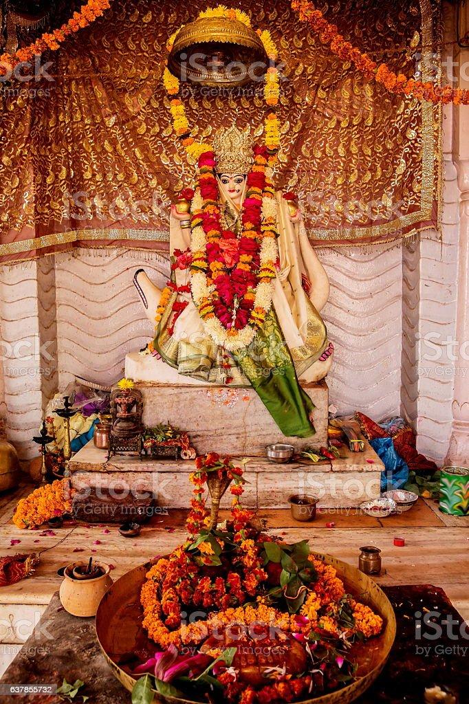 Idol of holy river goddess Ganga or Ganges stock photo