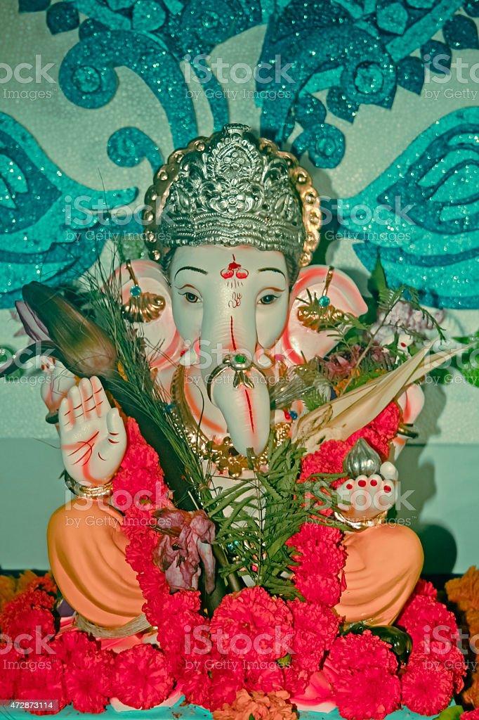 Idol of Lord Ganesha during Ganesh Festival stock photo