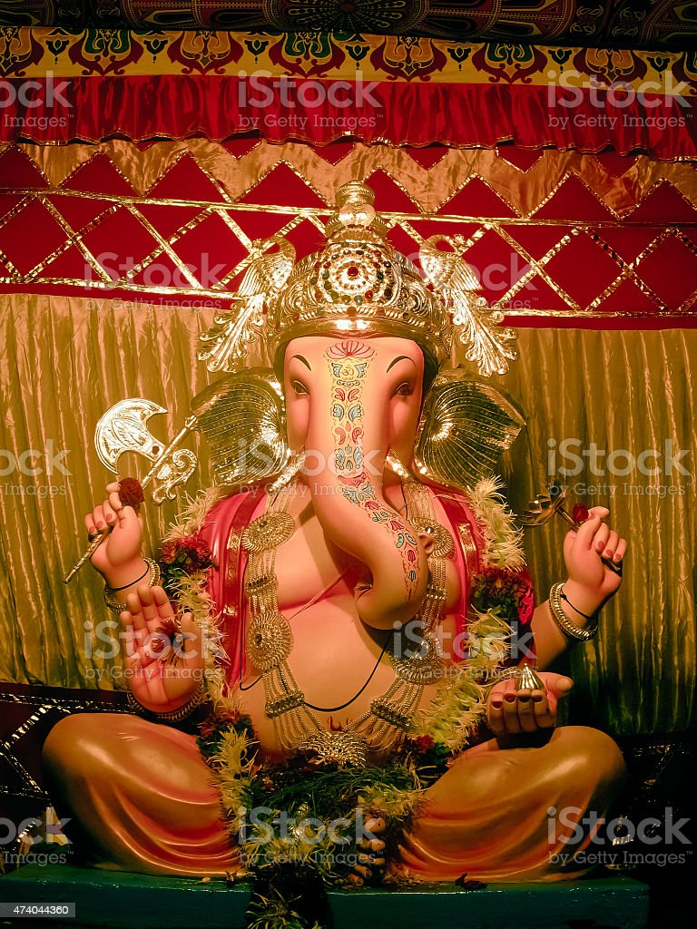 Idol of Lord Ganesha during Ganesh Festival stock photo