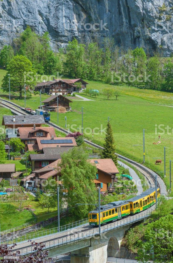Idy;;ic landscape of Lauterbrunnen valley, Switzerland stock photo