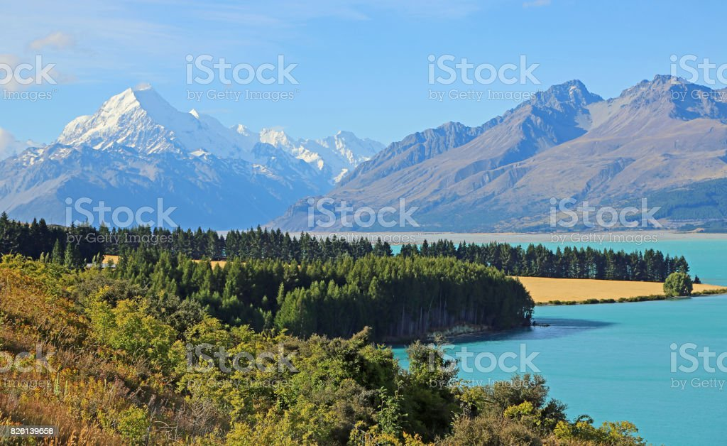 Idyll with Mt Cook stock photo