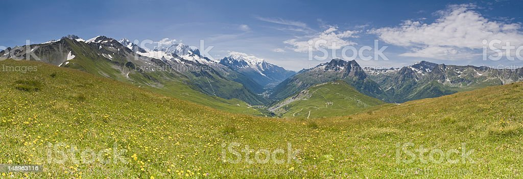 Idyllic Alpine meadow mountains royalty-free stock photo