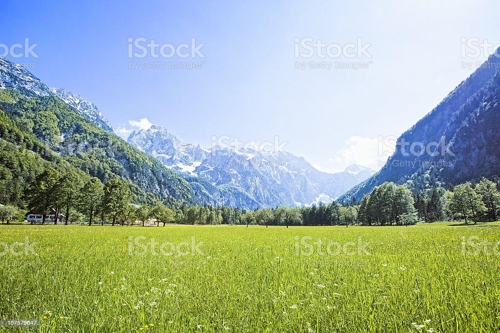 Idyllic Alps valley stock photo