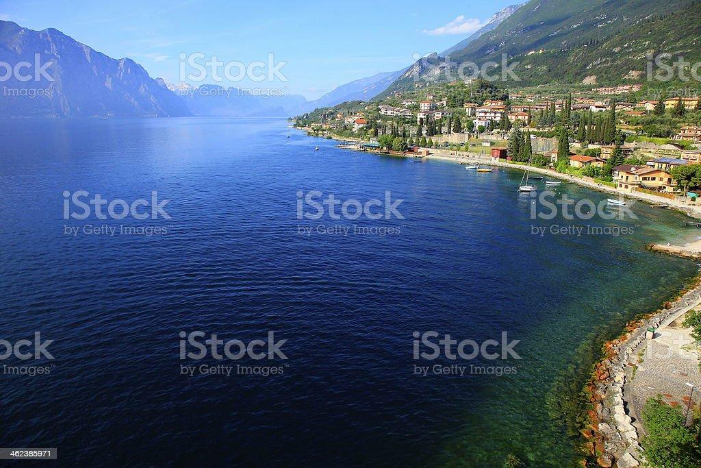 Idyllic and blue Lake Garda - Malcesine Castle, Italy stock photo