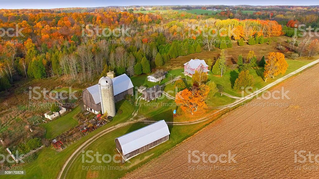 Idyllic autumn agricultural landscape. stock photo