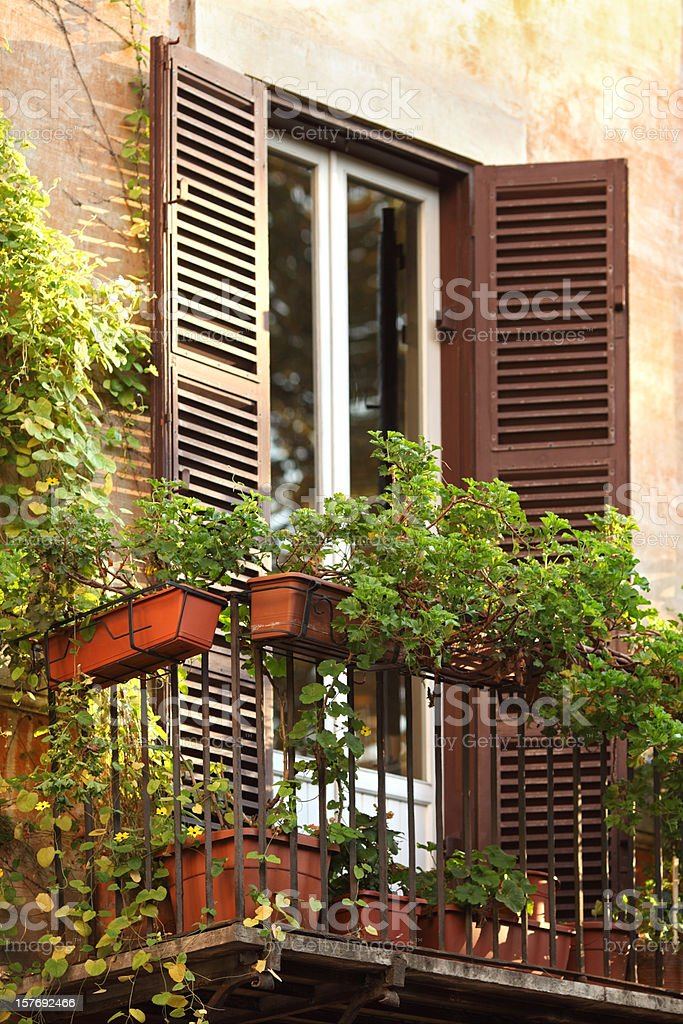Idyllic balcony with plants in Rome royalty-free stock photo