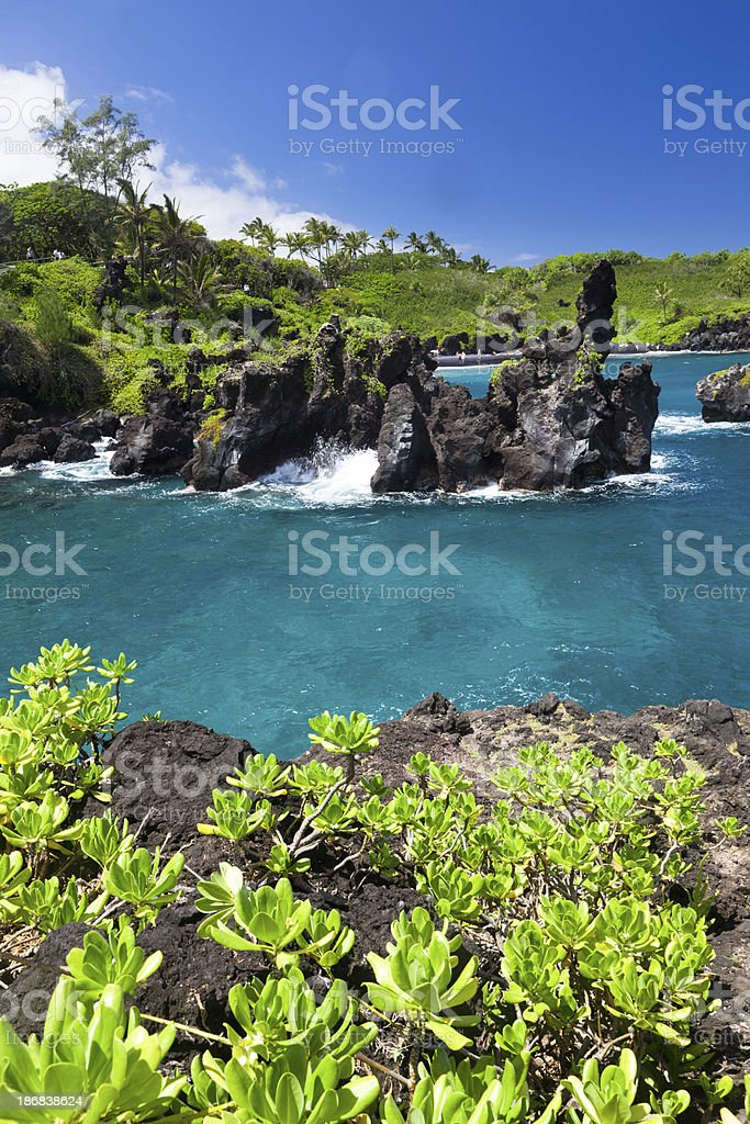 idyllic bay with blue ocean, maui, hawaii stock photo