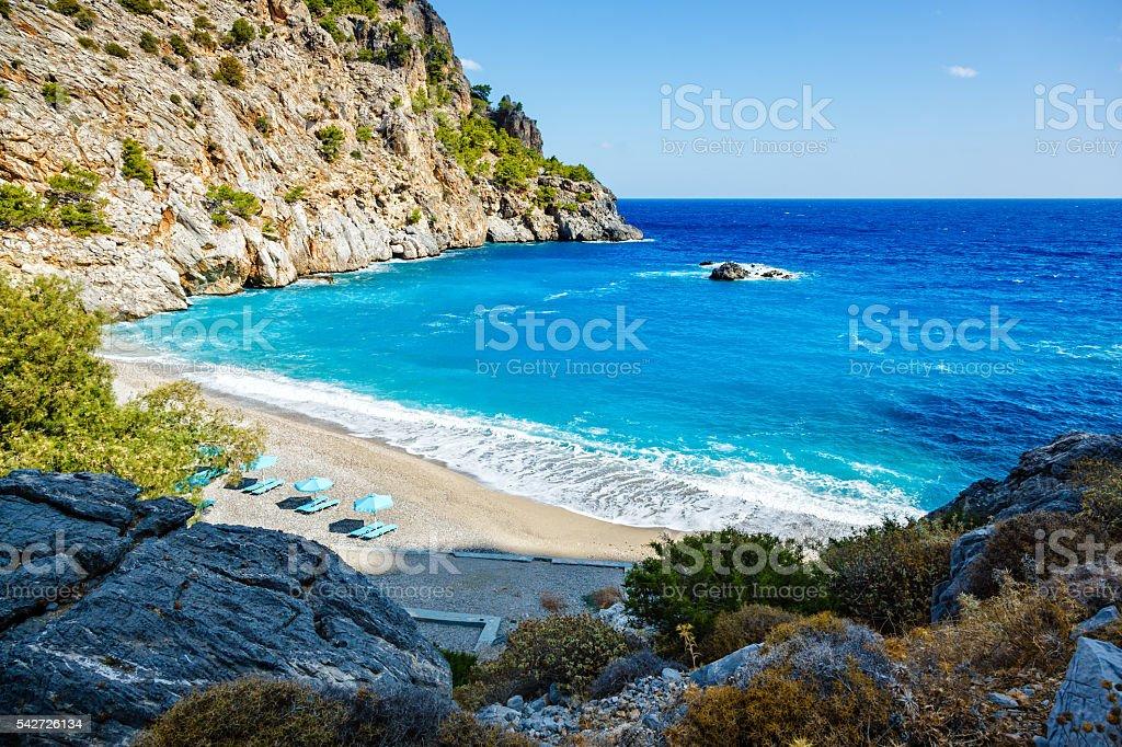 Idyllic beach Achata, Karpathos island, Greece stock photo