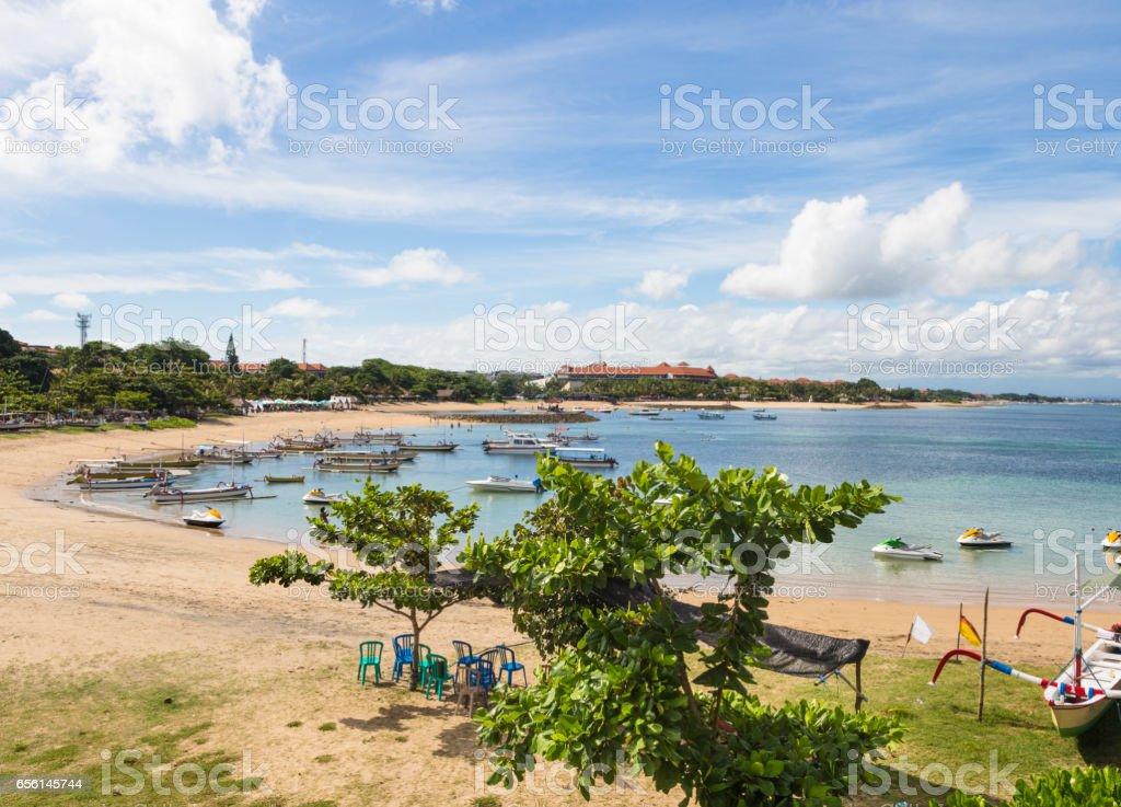 Idyllic beach in Nusa Dua in South Bali, Indonesia. stock photo