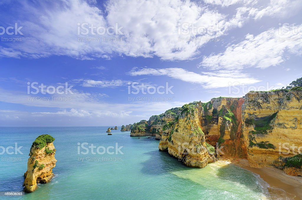 Idyllic beach landscape at Lagos, Algarve, (Portugal) royalty-free stock photo