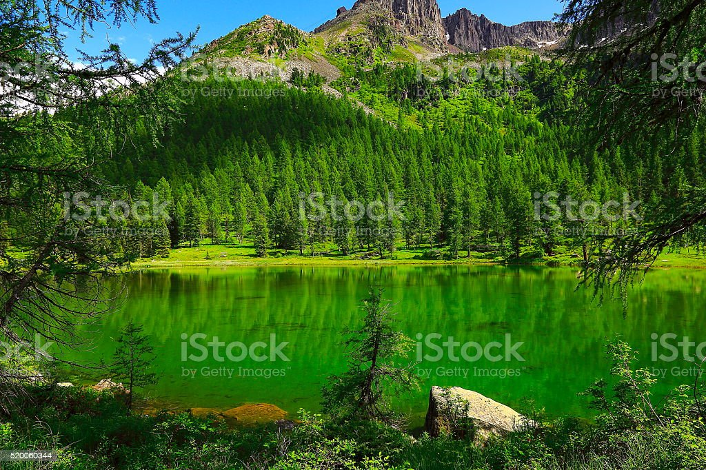 Idyllic blue Alpine Lake Carezza, Dolomites, Italian Tirol alps stock photo