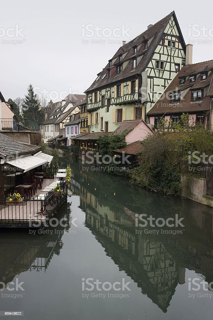 idyllic canal scenery in Colmar royalty-free stock photo