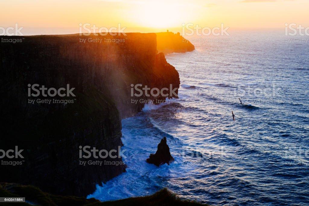 Idyllic Cliffs of Moher at sunset stock photo