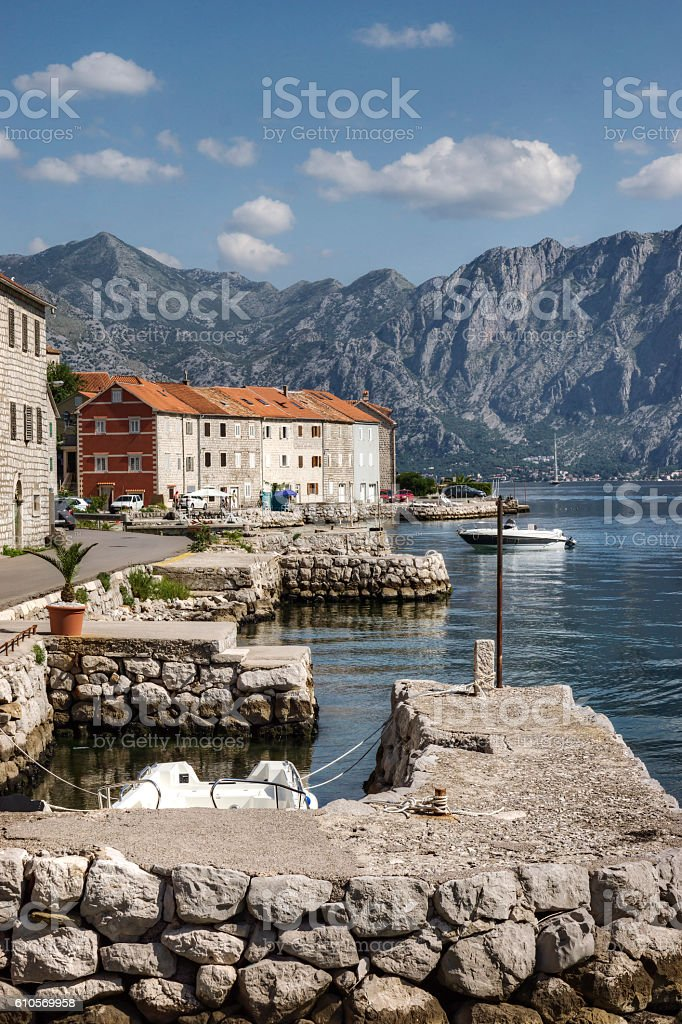 Idyllic Coastline Along the Bay of Kotor in Montenegro stock photo