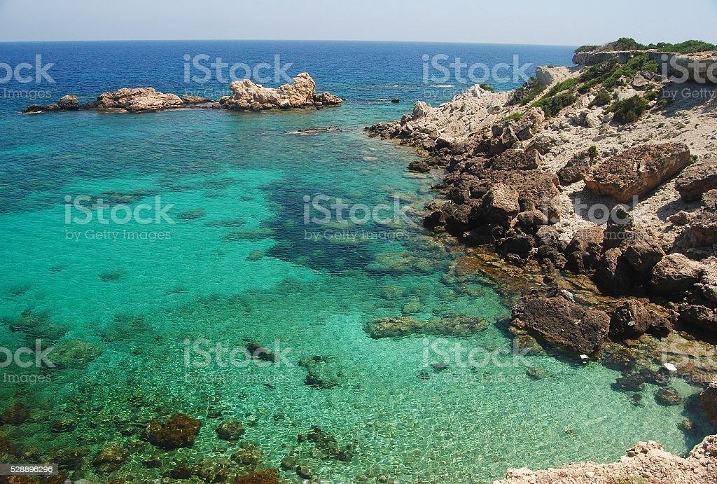 Idyllic cove of the Karpas peninsula in Cyprus. stock photo