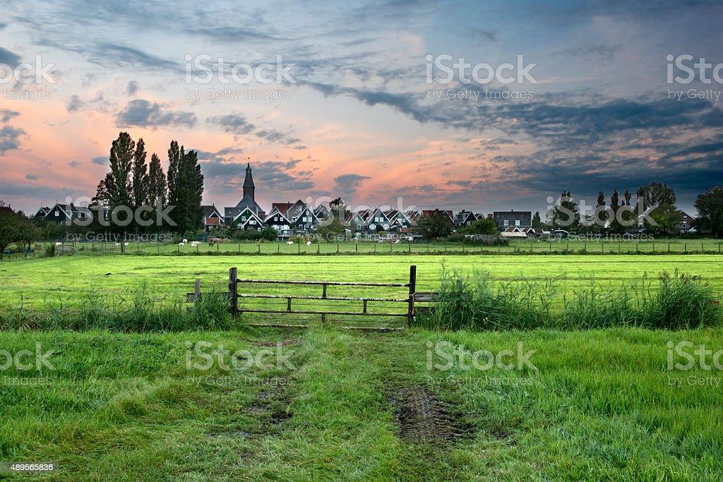 Idyllic dutch village of Marken at sunrise stock photo