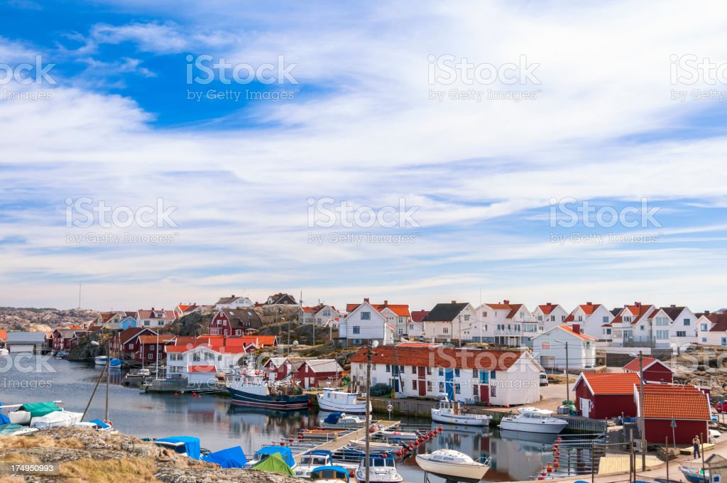 Idyllic fishing village royalty-free stock photo