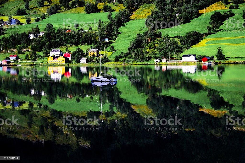 Idyllic fjord landscape, Norway, Scandinavia stock photo