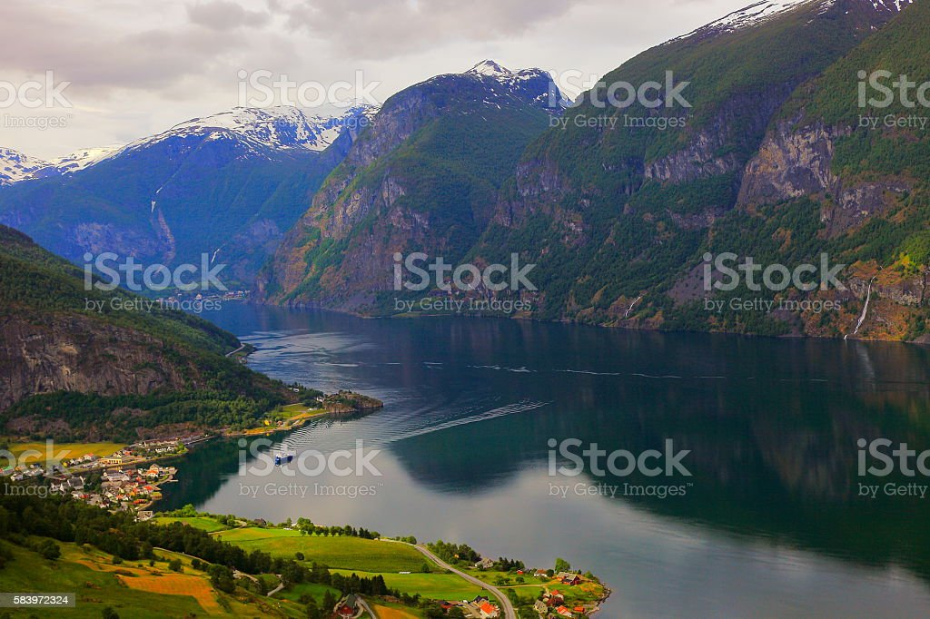 Idyllic fjord landscape panorama, dramatic sunrise, Norway, Scandinavia stock photo