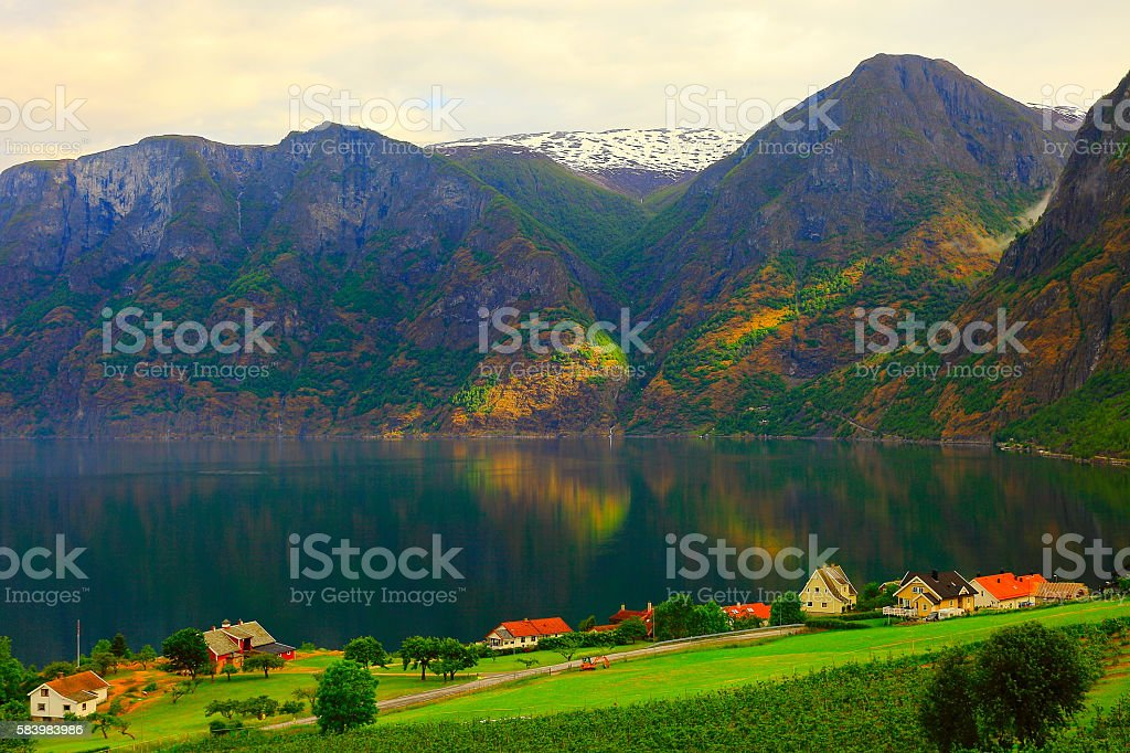 Idyllic fjord, norwegian village landscape, dramatic sunrise, Norway, Scandinavia stock photo