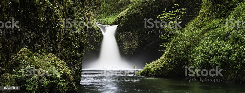 Idyllic forest waterfall Punch Bowl Falls Oregon stock photo